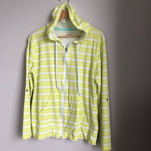 TEK GEAR Yellow/White Hoodie 3/4 Sleeve Jacket XL